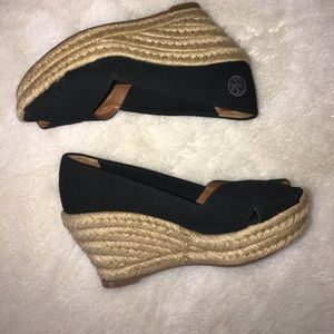 Tory Burch Black Canvas Espadrille Wedges